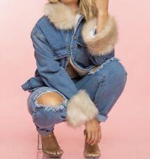 Oversized faux fur lined Jean Denim Spring jacket