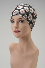 BLACK with RED Floral Accents CHEMO CAP Casey's Lacey HAT Turban STRETCH LACE