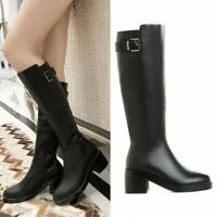 Classic Women's Gothic Leather Knee High Mid Calf Boots Block Heel Riding Shoes