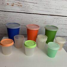 Vtg 17-piece Tupperware Lot 6 Midget 2oz With 3 Kids Drink Tumblers W/ Lids