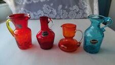 4 Vintage Crackle Glass Pitchers-Viking-Kanawha + Other