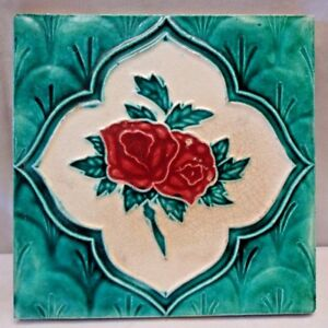 VINTAGE TILE ROSE GREEN MAJOLICA ART NOUVEAU MADE IN INDIA CERAMIC PORCELAIN#247