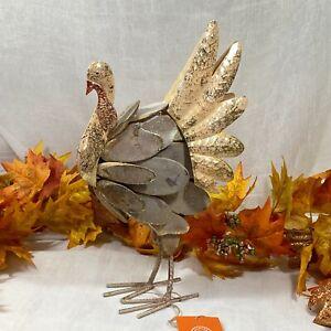 "Martha Stewart XL TABLE OR MANTEL CENTERPIECE METAL & Driftwood Turkey 15"" Gold"