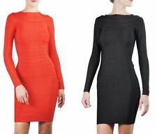 Women's Long Sleeved Celeb Bandage Off Shoulder Bodycon Midi Dress