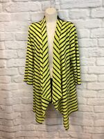 Caroline Rose Women's Green Black 3/4 Sleeve Open Front Draped Cardigan Size M