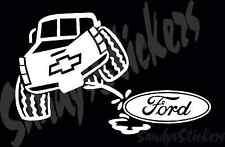 Chevy Peeing On Ford Vinyl Decal Sticker Silverado Colorado Sierra Canyon Truck