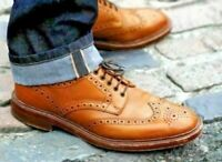 Handmade Men's Genuine Tan Leather Derby Brogue Oxfords Wingtip Formal Shoes