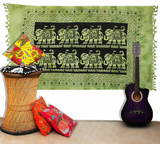 Indian Wall Hanging Green Bedcover Large Bohemian Elephant Print Wall Tapestry