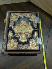 Large Leather Bound Holy Bible Dutch Bijbel 1800s Illustrated with Metal Clasps