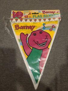 Barney Party Supplies 12 foot flag banner 1992 Unique Dinosaur Birthday  NOS
