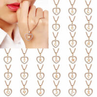 Initial 26 Letters A-Z Alphabet Heart Crystal Pendant Necklace Chain Jewelry