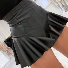 Women Skirt Shorts Mini Faux Leather PU Ruffle High Waist Frill Hem Sexy Zip