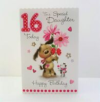 Jonny Javelin Daughter Age 16 Today Happy Birthday Card Cute Dog Flower/FF20