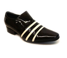 New Boys Kids Smart Shiny Patent Leather Striped Wedding Formal Shoes Size 8-6