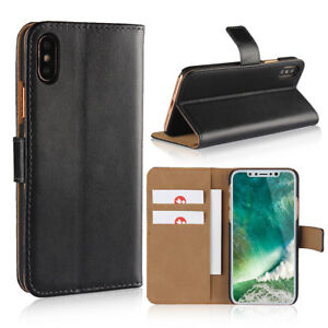 UK Luxury Real Leather Wallet Phone Case Cover with Card slot For Apple iPhone