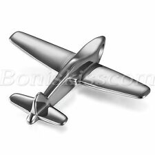 Men Polish Stainless Steel Plane Aircraft  Airplane Model Pendant Chain Necklace