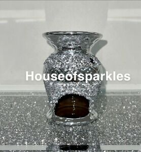 SILVER CRUSHED DIAMOND SPARKLY WAX/OIL BURNER, BLING GIFT ✨