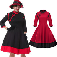 50s Vintage Women Red Pin-up 3/4 Sleeve Cocktail Party Rockabilly Swing Dress