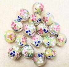 Handmade Lamp-work Beads ~12mm Diametre - 50gms Soft Pastel Lemon &  Flowers