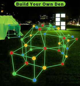 156X Kids Diy Construction Fort Building Kit Castles Tent Fluorescent Toy Gift
