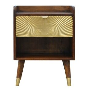 Art Deco Solid Dark Mango Wood Bedside Table Gold Sunrise Handmade Furniture