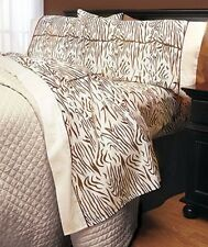 Full Safari  Brown Ivory Zebra Animal Print Microfiber Sheet Set