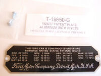 Ford Model T Aluminum Patent Plate With Rivets 1926-1927