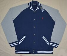 New XLT XL TALL POLO RALPH LAUREN Men's fleece baseball varsity jacket Navy gray