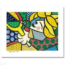 ROMERO BRITTO signed autographed TENNIS GIRL Embellished Serigraph LTD ED COA