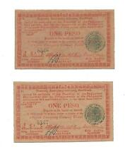 Philippines Emergency Currency Negros 1 Peso Low Serial Sequential Notes # 8347