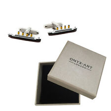 Mens Titanic Boat Model Cufflinks & Gift Box By Onyx Art