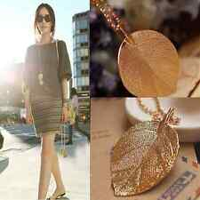 Women Fashion Lucky Golden Leaf Pendant Necklace Long Chain Sweater Jewelry Gift