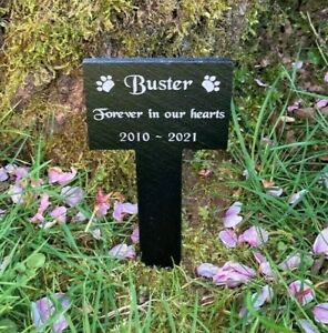 Pet Memorial Slate Stake Grave Marker Plaque Dog Cat Rabbit Hamster Guinea Pig