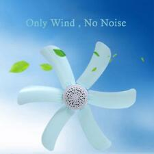 Sky Blue Natural Wind Single Gear 220v 6 Leaves Plastic Mini Quiet Ceiling fan