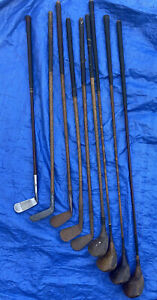 VINTAGE ANTIQUE HICKORY SHAFTED GOLF CLUBS. PUTTER IRONS & DRIVER RARE