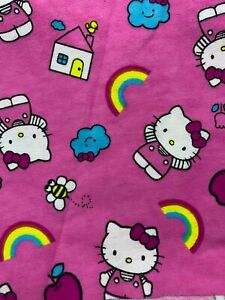 """Hello Kitty Fabric - flannel -   42"""" x 37"""" - House/ Pink/ Tulips/ Bees/ Rainbow"""