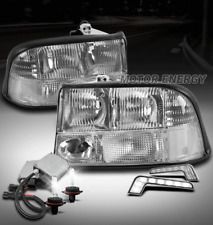 98-04 GMC SONOMA/98-01 JIMMY REPLACEMENT HEADLIGHTS LAMP CHROME W/DRL LED+6K HID