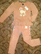FREE SHIPPING! Baby Gap girls 4T NWT poodle dog  peplum sweater and pants lot
