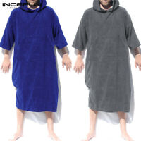 Adult Mens Changing Robe Towel Bath Hooded Beach Towel Poncho Bathrobe Towel US