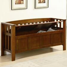 Warm Brown Finish Wood Flip Top Storage Bench by Coaster 501008