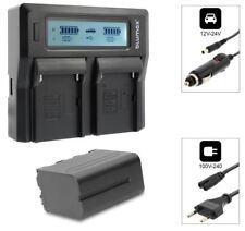 1x Akku NP-F970 6600mAh + Dual Ladegerät für Yongnuo YN300 YN600 LED Kameralicht