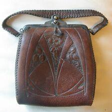 Antique Art Nouveau Floral Hand Tooled Leather Suede Lined Purse Circa 1910