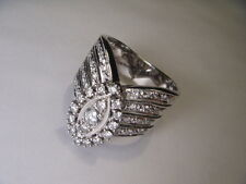 Magnificent Estate 14K White Gold Diamond Marquise Cocktail Band Ring