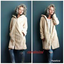 Zara NEW LONG SOFT FUR COAT WITH HOOD SIZE L