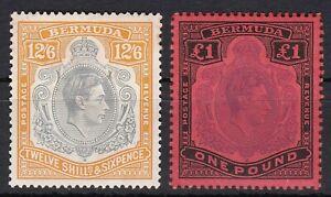British Commonwealth. Bermuda. George VI  12/6 and £1  Key Types Mint.