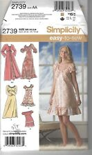 New Simplicity 2739 Sewing Pattern Size XS-M Misses Nightgown, Pajamas & Robe