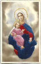 Magnifique carte brodée. Vierge à l'Enfant.Non postée.
