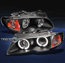2002-2005 BMW E46 3 SERIES 4DR HALO PROJECTOR HEADLIGHTS BLACK 2003 2004 CORNER