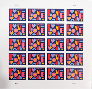 100 x 1 Sheet of 20 Forever Postage 2000 Love Wedding 2021 Sealed