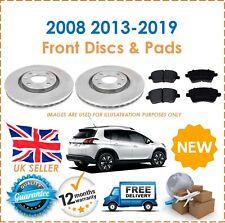 For Peugeot 2008 2012-2019 Two Front Vented 266MM Brake Discs & Brake Pads Set